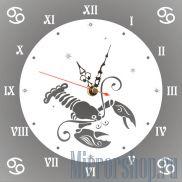Настенные зеркальные часы Знак Зодиака Рак