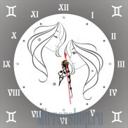 Настенные зеркальные часы Знак Зодиака Близнецы