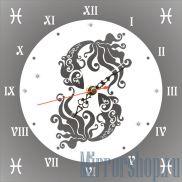 Настенные зеркальные часы Знак Зодиака Рыбы