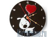 Настенные часы из фьюзинга Сердечко в подарок