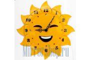 Настенные часы из фьюзинга  Веселое Солнышко
