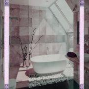 Зеркало с подсветкой Розовые Грезы витраж Тиффани 80x80 см
